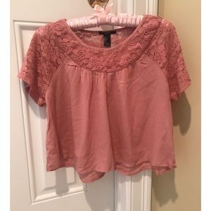 Forever 21 Pink Lace Crop Top